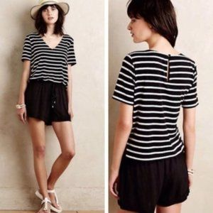 ANTHROPOLOGIE Striped Jersey Romper Black White XS